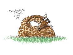 No.2 Giraffe - Drawing / Illustration / Daily Doodle / Sleeping