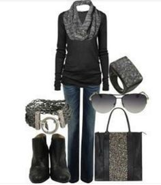 Fall fashion. Sweater, skinny jeans, and ombre scarf