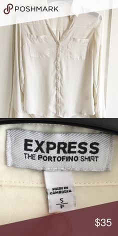 🎉clearance 🎉Express cream button up blouse Excellent used condition/ make me an offer / measurements upon request/ NO TRADES!! Express Tops Blouses