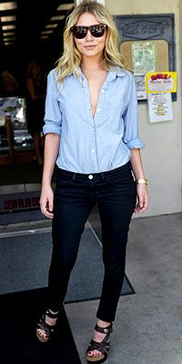 Olsens Anonymous Favorite | Ashley Olsen in a button down shirt and denim.