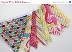 Bunting Banner, Baby Bunting Banner, Fabric Banner, Nursery Decor, Girl Bunting Pink Yellow - READY To Ship