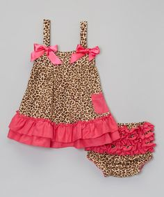Another great find on #zulily! Pink & Leopard Ruffle Top & Diaper Cover - Infant & Toddler #zulilyfinds
