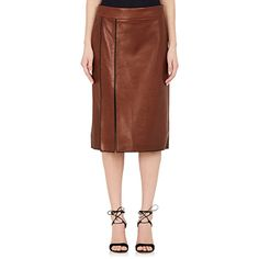 Nina Ricci Women's Whipstitched Leather Pencil Skirt ($1,389) ❤ liked on Polyvore featuring skirts, brown, real leather pencil skirt, nina ricci, genuine leather skirt, side slit skirt and pencil skirts