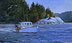 'Working the Cove ' #Watercolor. Very small #Maine scene that I did. www.robertbdance.com