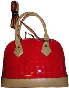 Women's Arcadia Patent Leather Purse Handbag Coral Red/Natural: Amazon.co.uk: Amazon.co.uk: