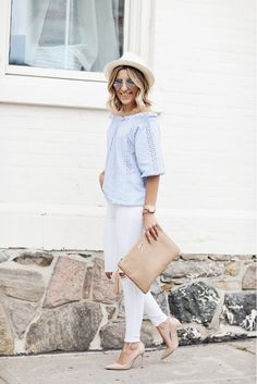 An eyelet off-the-shoulder top with white skinny jeans and nude pumps