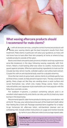 """What waxing aftercare products should I recommend for male clients?"" A few suggestions from Professional Beauty magazine Feb 2015"