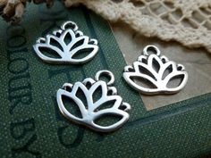 6x Lotus Flower Charms Antique Silver by TeapotTreasuresUK on Etsy