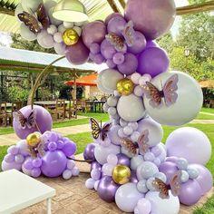 Butterfly Balloons, Purple Balloons, Metallic Balloons, Gold Confetti Balloons, Purple Butterfly, Purple Vase, Pink Purple, Baby Shower Balloons, Birthday Balloons