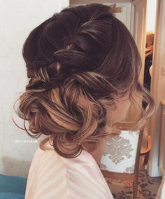 Curly Side Updo With A Braid