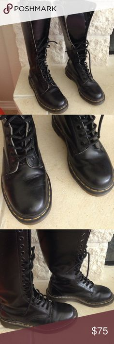 Doc Martens The Original Tall Black Lace Up Boots Doc Martens The Original Tall Black Lace Up Boots. Minor scuffing. Boots are in fantastic shape. Heels look to have no wear. They are black shiny leather. They are very tall. They have 20 eyelets! These are a UK Size 5, USA 7. Please ask questions before you buy, thanks! Doc Martens Shoes Combat & Moto Boots