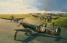 Aviation art by Robert Taylor depicting Spitfires scrambling from their base at Hornchurch during the Battle of Britain Ww2 Aircraft, Fighter Aircraft, Military Aircraft, Fighter Jets, Military Art, Military History, Spitfire Supermarine, Airplane Art, Airplane Design