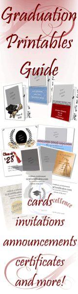 Graduation printables | printable graduation announcements, graduation invitations, certificates to print, graduation cards, photo frames