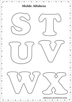 Modelo de letras para cartaz s t u v w x Alphabet Letter Templates, Printable Letters, Alphabet And Numbers, Cut Out Letters, Diy Letters, Felt Patterns, Applique Patterns, Felt Name, Lettering Design