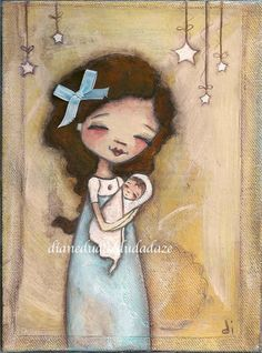 """Finally I have a new painting to offer.  """"Young Mother""""  ©dianeduda/dudadaze"""