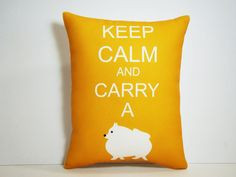 Pomeranian Dog Pillow Keep Calm and Carry a by persnicketypelican, $18.00