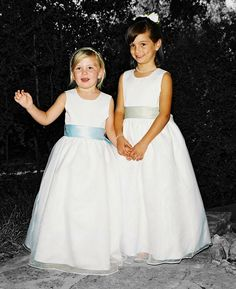 Flower Girl Dress one red and one blue??? Or blue with red sash? Blue with white sash and red shoes?