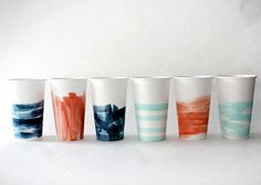 DIY watercolour paper cups: I have been wanting to do this!