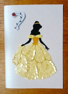 Disney silhouette birthday card. Belle from Beauty and the Beast. Child's birthday card. Handmade card. Hand cut.