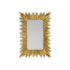 Jonathan Charles, Gilded Rectangular Sunburst Mirror, Buy Online at LuxDeco