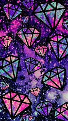 Purple falling diamonds galaxy iPhone/Android wallpaper I created for the app CocoPPa!