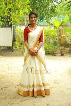 Whatsapp on 9496803123 to customise handwork n cutwork Lehanga Saree, Kasavu Saree, Half Saree Lehenga, Saree Look, Kerala Saree Blouse Designs, Half Saree Designs, Kerala Traditional Saree, Traditional Skirts, Indian Bridal Sarees