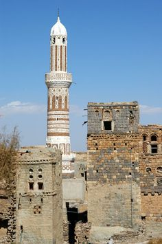 Mosque of Shibam (Al-Mahwit) 11 Feb 2005 Image copyright Brian J. McMorrow. #Yemen #mosques #architecture