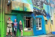 Byrd (aka Dan Maginnity), Geoff Filmer and Faith Kerehona in Tocumwal Lane, Canberra.