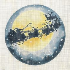 Santa & Reindeer / Full Moon by Joy Jaurez for Fleur de Paris Product Code: JJO-2044 Hand Painted Canvas 18g, 6 diameter