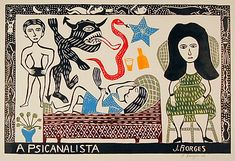 "A Psicanalista, wood-cut art by José Francisco Borges. ""Borges is Brazil's best-known folk artist working in the wood-cut medium, and ... comes out of a long tradition of folk poet/artists who publish their own work in the form of small, cheap chap-books or pamphlets written in verse, known as folhetos."" Caption from link"