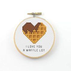 I love you a waffle lot cross stitch pattern waffl…