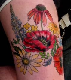 Colorful Floral Tattoo On Thigh