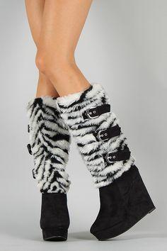 Fudge-Su Two Tone Fur Buckle Knee High Wedge Boot $49.90
