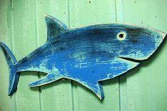 Shark Sign Electric Blue Beach House Wall Art Decor Coastal Nautical by CastawaysHall Blue Beach, Beach Art, Summer Beach, Fishing Shack, Deco Marine, Wood Fish, Beach Signs, Beach House Signs, Beach Crafts
