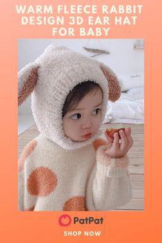 0e906e799ae Warm Fleece Rabbit Design 3D Ear Hat for Baby   3D Ear   Comfy and warm