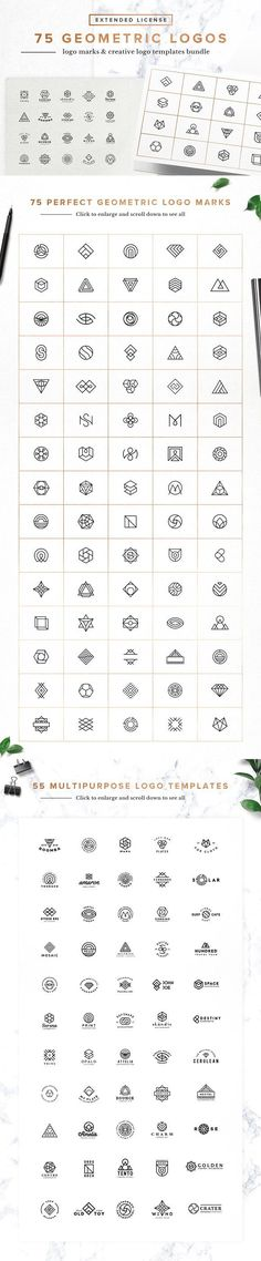 75 Geometric Logo Bundle - This bundle Includes 75 geometric logo marks and 55 multipurpose logo templates (designed with 100% free fonts) that you can modify as you want for your next awesome designs: branding projects, identity, labels, badges, wedding stationery, apparel design, websites, stamps, stickers, t-shirts and much more! By Spensers Family $15 #affiliatelink