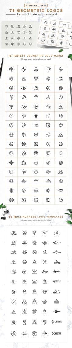 75 Geometric Logo Bundle for labels, badges, wedding stationery, apparel design, websites
