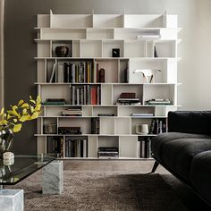 Cattelan Italia Wally Bookcase - Modular bookcase in white black graphite oyster or ottanio lacquered embossed MDF. Contemporary Bookcase, Modern Bookshelf, Wooden Bookcase, Cube Bookcase, Bookshelf Design, Bookshelves, Wooden Living Room Furniture, Bibliotheque Design, Italian Furniture