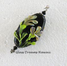 Lampwork Glass Floral Bead Pendant Handmade by GlassDreamsHawaii