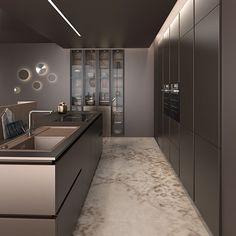 Luxury Kitchen Design, Kitchen Room Design, Kitchen Cabinet Design, Interior Design Kitchen, Kitchen Decor, Interior Decorating, Modern Kitchen Cabinets, Kitchen Furniture, Laundry Room Wall Decor