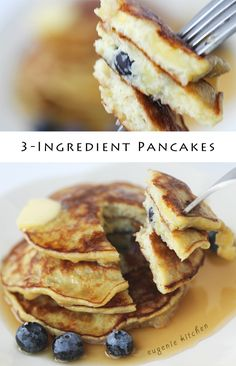 3-Ingredient Banana Pancakes Recipe  For 1 person (10 mini pancakes)  Ingredients  1 1/2 large bananas, ripe to overripe(200g) * 2 eggs 1/8 teaspoon baking powder Maple syrup, butter, blueberries, to serve (optional) * Don't add too much banana. The pancake will not hold. There should be enough egg to hold mashed banana together.