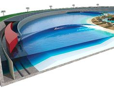 Kelly Slater wave pool  The future model will pump waves every five-to-ten seconds and delivers rides that could be enjoyed for one minute or more. In a five-million gallon circular pool, everything is possible. Simply enjoy a classic longboard ride or go for aerial tricks.