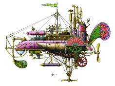 Fanciful Submarine …or Aeronef? by Andrew George Brown (1950-1982)   via Flickr   See also: http://www.etsy.com/shop/gingerbees?section_id=8006534