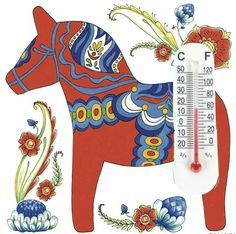 Thermometer Tile Magnet: Red Dala Horse - ScandinavianGiftOutlet   - 1