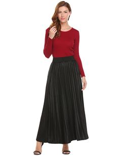 e62228f801 Women Long Velvet Skirt A Line Vintage High Elastic Waist Skirt - Black -  C0186O0HZH2