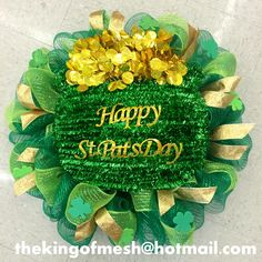Create your own St Patrick's Mesh Wreath or order yours at: thekingofmesh@hotmail. com - Introducing my newest #meshwreath from latest #StPatricks collection. I got all my supplies at @MichaelsStores #craftssupplies #decomesh #custom #mesh #michaelsstores @thekingofmesh #homedecor #polydecomesh #green #shamrock #bucketofgold