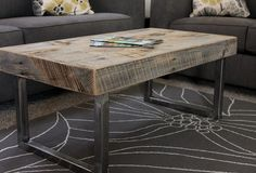 Reclaimed Wood Coffee Table, Tube Steel Legs