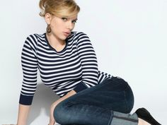 blondes, women, jeans, scarlett johansson, actress, celebrity, striped clothing