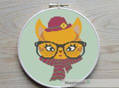 Cross stitch pattern cat, retro cat, hipster cat, modern cross stitch,  PDF ** instant download** par Happinesst sur Etsy https://www.etsy.com/fr/listing/216133997/cross-stitch-pattern-cat-retro-cat