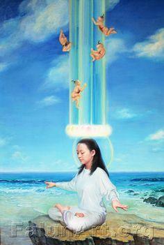 In harmony, Zhen Shan Ren (Doğruluk,Merhamet,Hoşgörü) Resim Sergisi'nden http://en.falunart.org/